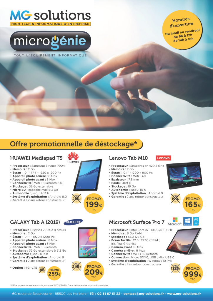 MG solutions Mailing Tablette